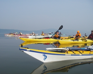 Paddlers in Haverstraw Bay